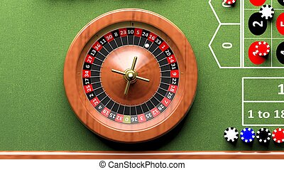 Roulette wheel on green table, poker chipsFrom above