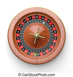 Roulette wheel on white backgroundFrom above
