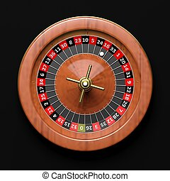Roulette wheel on black backgroundFrom above