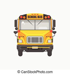 Flat icon yellow school bus - Vector illustration flat icon...