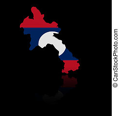 Laos map flag with reflection illustration