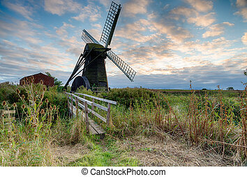 Herringfleet Mill a smock windmill on the Suffolk side of...