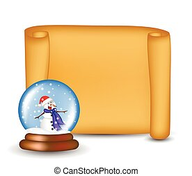 Christmas paper scroll card with snowglobe. Vector illustration isolated on white background.