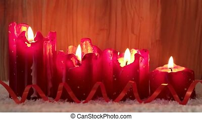 Four red christmas candle for advent. Four Candle For...