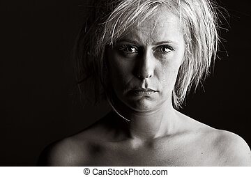 Upset Blonde Woman - Powerful Shot of an Upset Blonde Woman