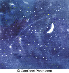 Watercolor starry sky background on paper texture.