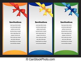 Three vertical invitation card