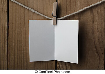 Blank White Opened Greetings Card Pegged to String - An...