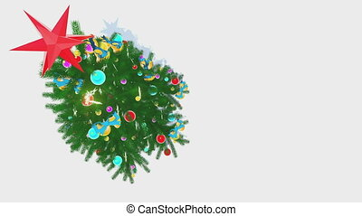 Rotating Xmas tree on white back - Top-down view on the...