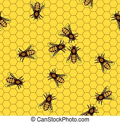 Bee on honeycomb pattern - Seamless pattern of the bee on...