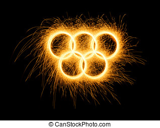 Winter, Summer Olympics Games simbol made of fire