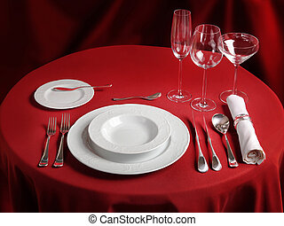 Professional setting of red dinner table - Red table with...