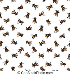 Honeybee pattern - Seamless pattern of the honeybee insects