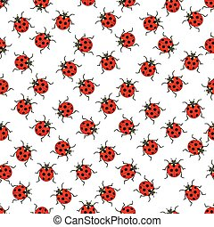 Ladybug pattern - Seamless pattern of the ladybugs