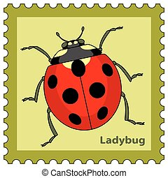 Ladybug stamp - Illustration of the ladybug postage stamp