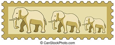 Elephants on stamp - Illustration of the cartoon elephants...