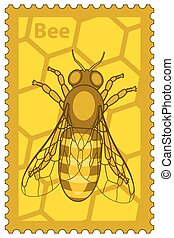 Honeybee stamp - Illustration of the honey bee stamp
