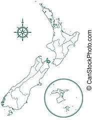 New Zealand - Contour border map of the New Zealand All...