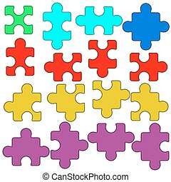Puzzle set - Illustration of the puzzle elements collection