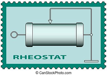 Rheostat on stamp - Illustration of the rheostat icon