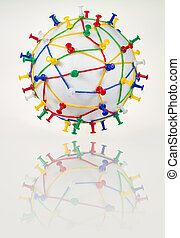 network - Colorful wool threads on a globe form a network...