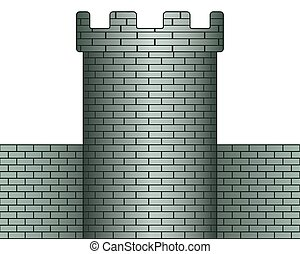 Tower - Illustration of the tower and wall icon
