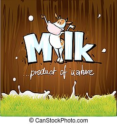 vector design with milk, cow, wood