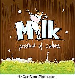 vector design with milk, cow, wood