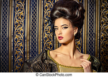 historical hairstyle - Baroque Style - beautiful young woman...