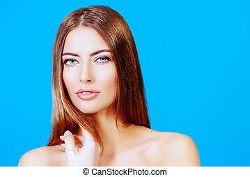 skincare - Portrait of a beautiful tender young woman with...