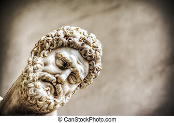 Hercules face in Hercules and Nesso centaur statue - close...