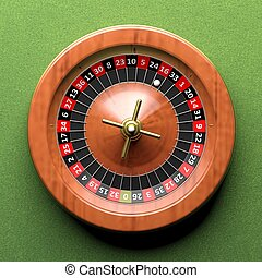 Roulette wheel on green backgroundFrom above - Close-up of...