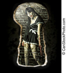 Zombie woman in the room - view of the keyhole of the door