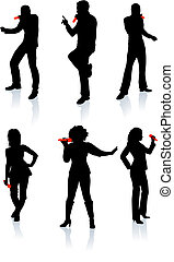 Singers Silhouette Collection Original Vector Illustration...
