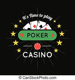 Casino, Poker chip vector design with card - Vector...