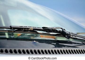 close up of a windshield wiper - car's windshield rain wiper...