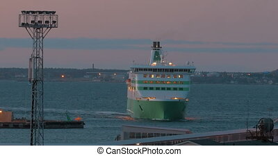 Large Ferry Enters The Port - Large ferry with switched...