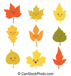 Collection of cute autumn leaves in kawaii style Vector...