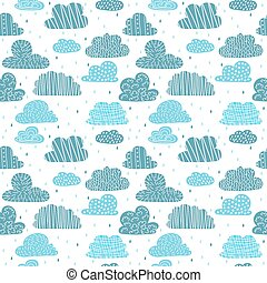 Cute hand drawn seamless pattern with clouds. Funny background for your design