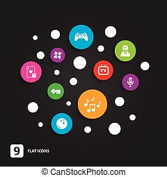 Entertainment icons Game, bowling and puzzle - Entertainment...