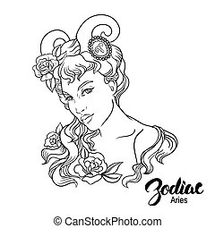 Zodiac. Vector illustration of Aries as girl. Isolated on white background.
