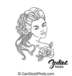 Zodiac. Vector illustration of Scorpio as girl with flowers. Isolated on white background.