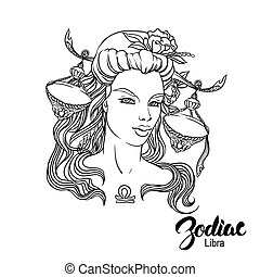 Zodiac. Vector illustration of Libra as girl with flowers. Isolated on white background