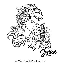 Zodiac Vector illustration of Pisces as girl with flowers...