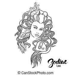 Zodiac Vector illustration of Leo as girl with flowers...