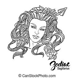 Zodiac Vector illustration of Sagittarius as girl with...