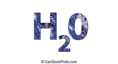Water H2O - The word H2O is written with letters made from...