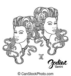 Zodiac Vector illustration of Gemini as girl with flowers...