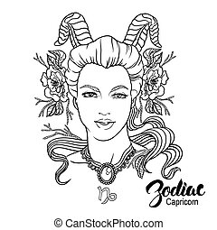 Zodiac Vector illustration of Capricorn as girl with flowers...