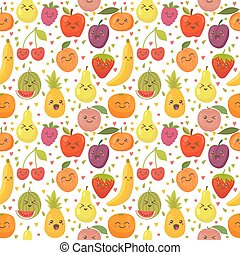 Seamless pattern with happy fruits. Cute background for your design